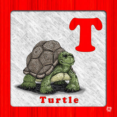 T For Turtle Print by Jason Meents