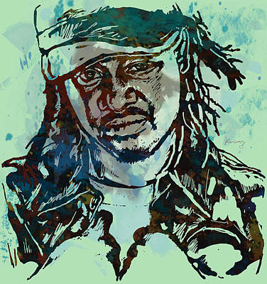 T-pain Faheem Rasheed Najm Stylised Etching Pop Art Poster Print by Kim Wang