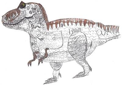 T Rex Drawing - T-rex by Fred Hanna