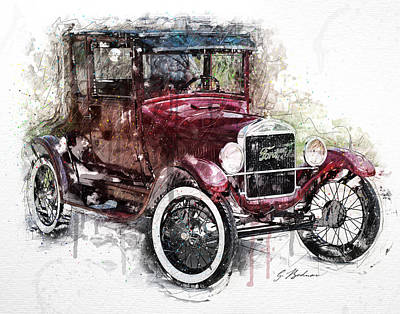 Ford Model T Car Digital Art - 1926 Ford Model T by Gary Bodnar