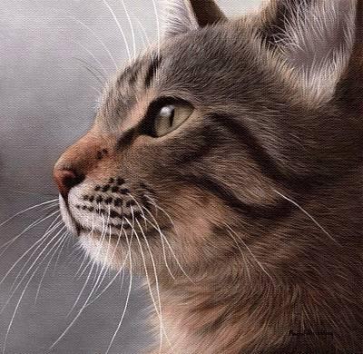 Tabby Cat Painting Print by Rachel Stribbling