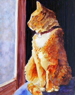 Tabby Painting - Tabby's Favorite Seat by Jenny Armitage