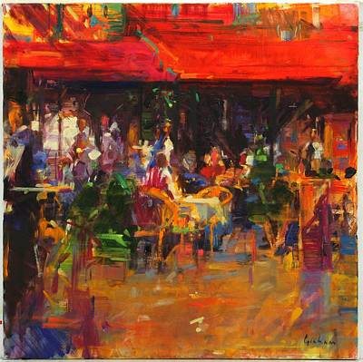 Table At Villefranche Oil On Canvas Print by Peter Graham