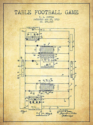 Football Art Drawing - Table Football Game Patent From 1933 - Vintage by Aged Pixel