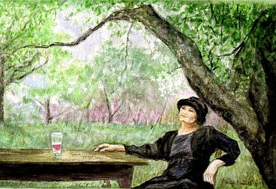 Glass Of Wine Painting - Table For One by Marilyn Nestell