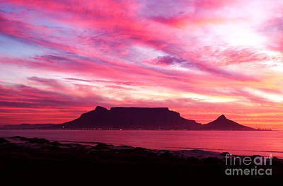 Southafrica Photograph - Table Mountain Dolphin Beach by Charl Bruwer