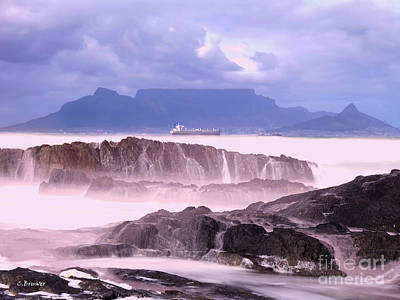Southafrica Photograph - Table Mountain Low Mist by Charl Bruwer