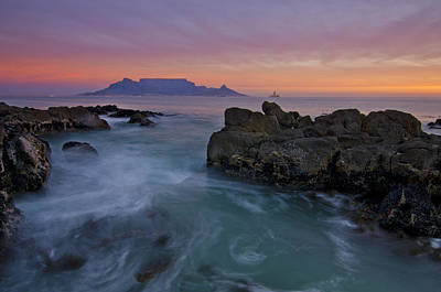 Wonders Of The World Photograph - Table Mountain Sunset by Aaron S Bedell
