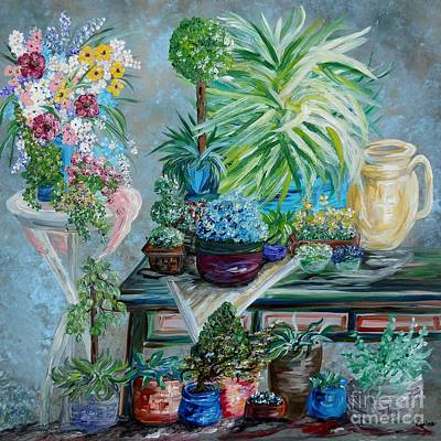 Clay Painting - Table Of A Plant Lover by Eloise Schneider