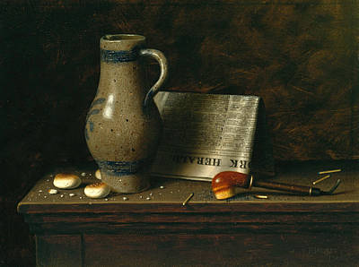 William Michael Harnett Painting - Table Top With Pitcher Pipe And New York Herald by William Michael Harnett