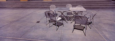 Santa Clara Photograph - Tables With Chairs On A Street, San by Panoramic Images