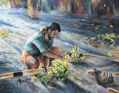 Young Man Drawing - Tahitian Banana Carryer by Miki De Goodaboom