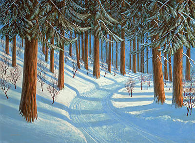 Snowscape Painting - Tahoe Forest In Winter by Frank Wilson