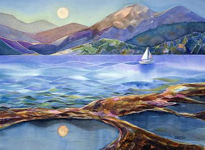 Moon Painting - Tahoe Tides by Jen Norton