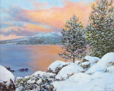 Donna Tucker Painting - Tahoe Winter Colors by Donna Tucker