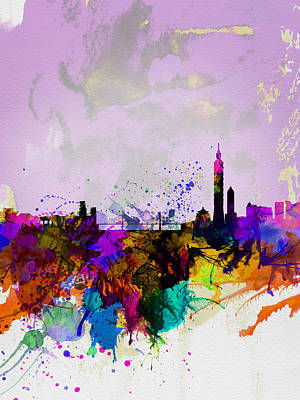 Panoramic Digital Art - Taipei Watercolor Skyline by Naxart Studio