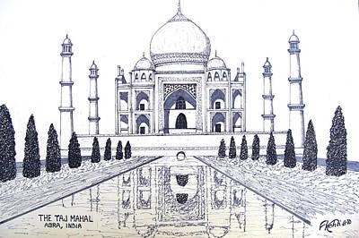 Fine Art Drawing - Taj Mahal by Frederic Kohli