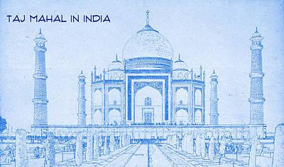 Taj Mahal In India - Blueprint Drawing Print by MotionAge Designs
