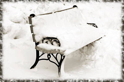Snowscape Mixed Media - Take A Seat  And Chill Out - Park Bench - Winter - Snow Storm Bw by Andee Design