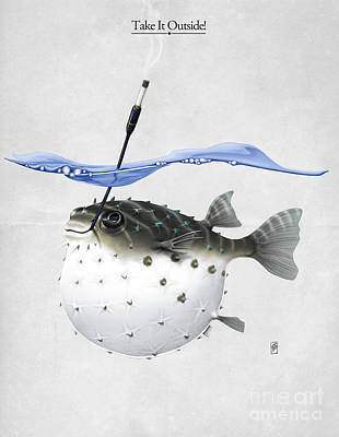 Puffer Fish Mixed Media - Take It Outside by Rob Snow