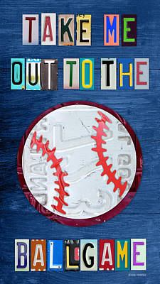 Baseball Art Mixed Media - Take Me Out To The Ballgame License Plate Art Lettering Vintage Recycled Sign by Design Turnpike