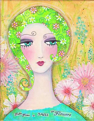 Hairdo Mixed Media - Take Time To Smell The Flowers by Joann Loftus