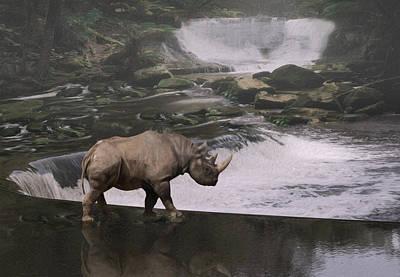 Rhinoceros Digital Art - Taking A Stroll  by Jack Zulli
