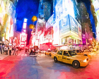 Taking A Taxi Through Times Square Print by Mark E Tisdale