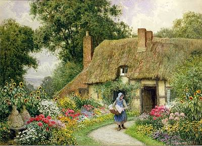 Sunflowers Drawing - Taking Out The Washing by Arthur Claude Strachan