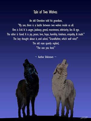 Free Will Digital Art - Tale Of Two Wolves by Schwartz