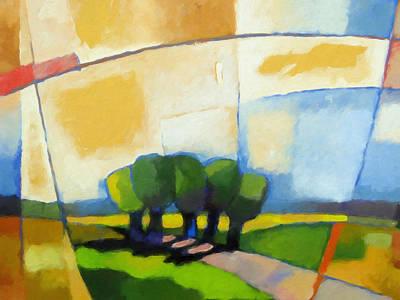 Cubism Painting - Talking Trees by Lutz Baar