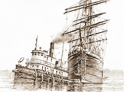 Tall Ship Assist Sepia Print by James Williamson