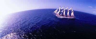 Tall Ship In The Sea, Puerto Rico, Usa Print by Panoramic Images