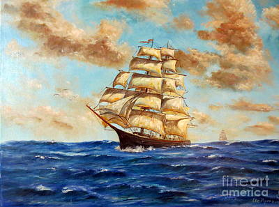 Tall Ship On The South Sea Print by Lee Piper
