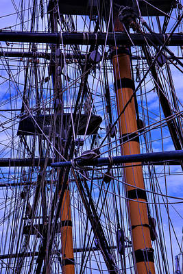 Ships Mast Photograph - Tall Ship Rigging Of The Hms Surprise by Garry Gay