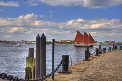 Historic Schooner Photograph - Tall Ship The Roseway In Boston Harbor by Joann Vitali