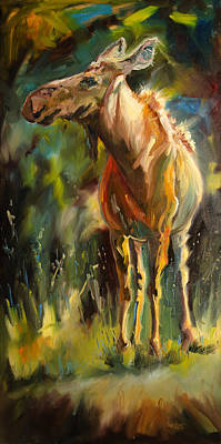 Diane Whitehead Art Original featuring the painting Taller Than That Moose by Diane Whitehead