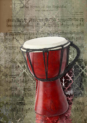 Red Abstract Digital Art - Tam Tam Djembe - S02a by Variance Collections