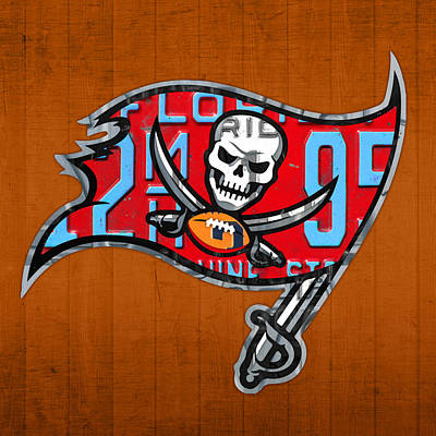 Team Mixed Media - Tampa Bay Buccaneers Football Team Retro Logo Florida License Plate Art by Design Turnpike