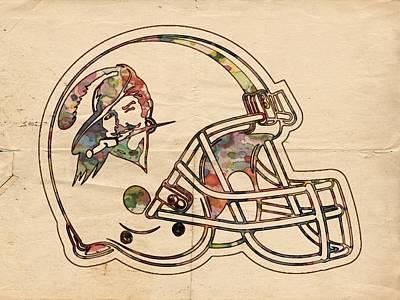 Flag Painting - Tampa Bay Buccaneers Vintage Helmet by Florian Rodarte