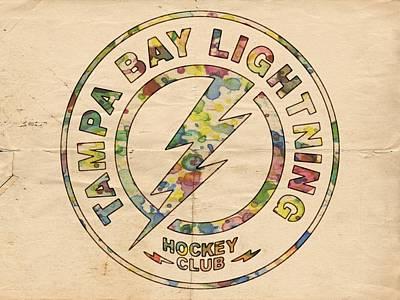 Goaltender Painting - Tampa Bay Lightning Logo Art by Florian Rodarte