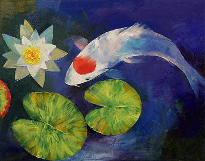 Tancho Koi And Water Lily Print by Michael Creese