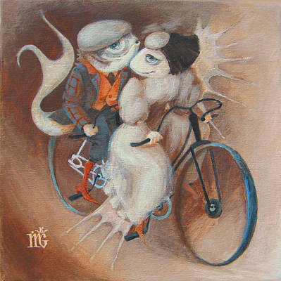 Bicycling Painting - Tandem by Marina Gnetetsky