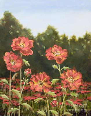 Tangerine Painting - Macro Poppies I by Vic  Mastis