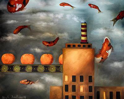 Tangerines Painting - Tangerine Dream Edit 2 by Leah Saulnier The Painting Maniac