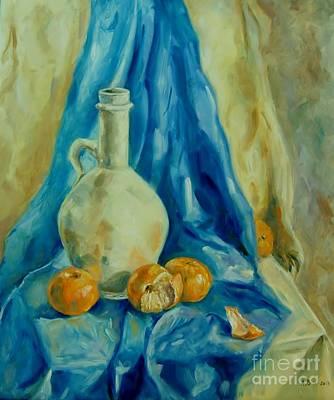 Tangerine Painting - Tangerine On Blue  by Aliaa Bishr