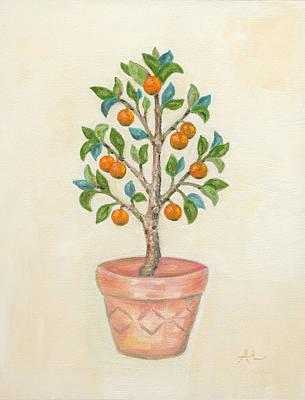 Pruning Painting - Tangerine Tree by Annamarie Lombardo