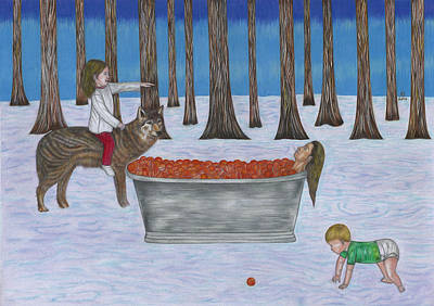 Tangerine Drawing - Tangerine Woman And The Feral Children by Hazel  Gore