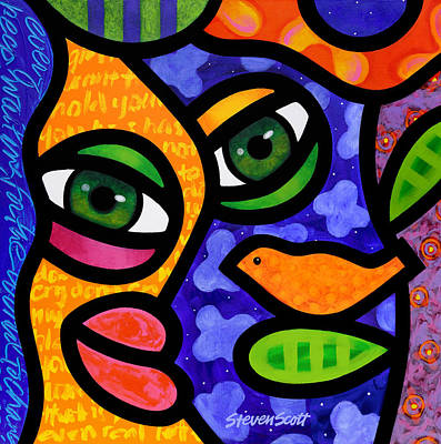 Abstract Faces Painting - Tangier by Steven Scott