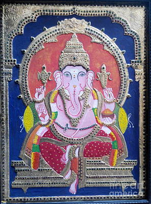 Tanjore Painting - Tanjore Painting -ganesha by Rekha Artz
